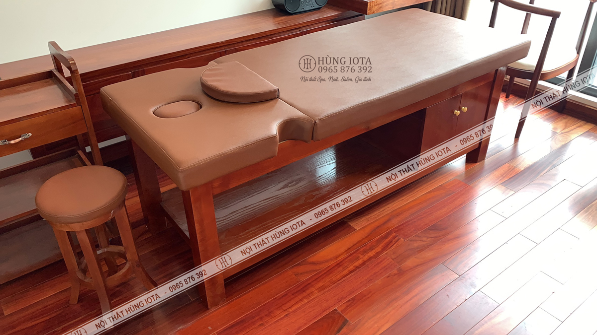 Lắp đặt giường spa cao cấp cho Vinhomes Metropolis Liễu Giai màu gỗ hương
