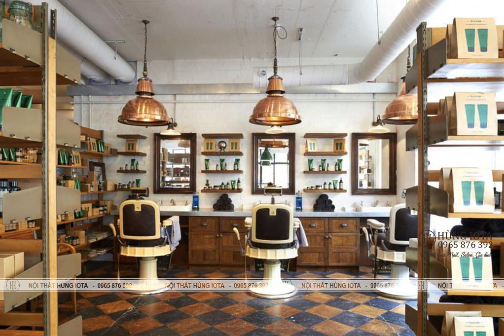 Nội thất tiệm cắt tóc nam gương barber giá rẻ đẹp màu gỗ trần
