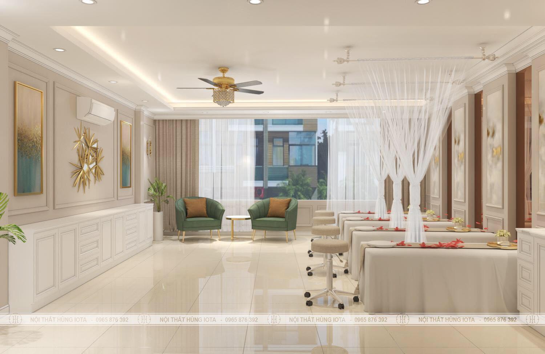 Phòng spa đẹp tông màu trắng nhạt vàng cho spa, thẩm mỹ viện Cali