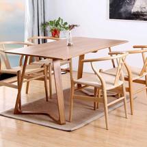 Bàn ghế ăn chung cư 4 ghế Wishbone, bàn chân chữ M decor BGA04