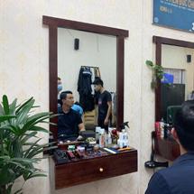 Gương barber hình chữ nhật và tủ barber dưới gương GCT30