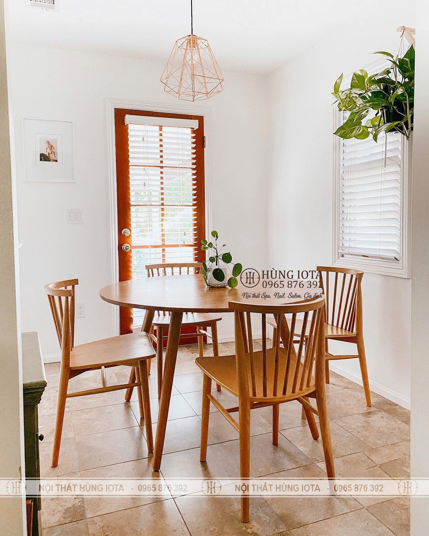 Bàn ghế ăn chung cư 9 nan decor đẹp giá rẻ màu vàng gỗ tự nhiên