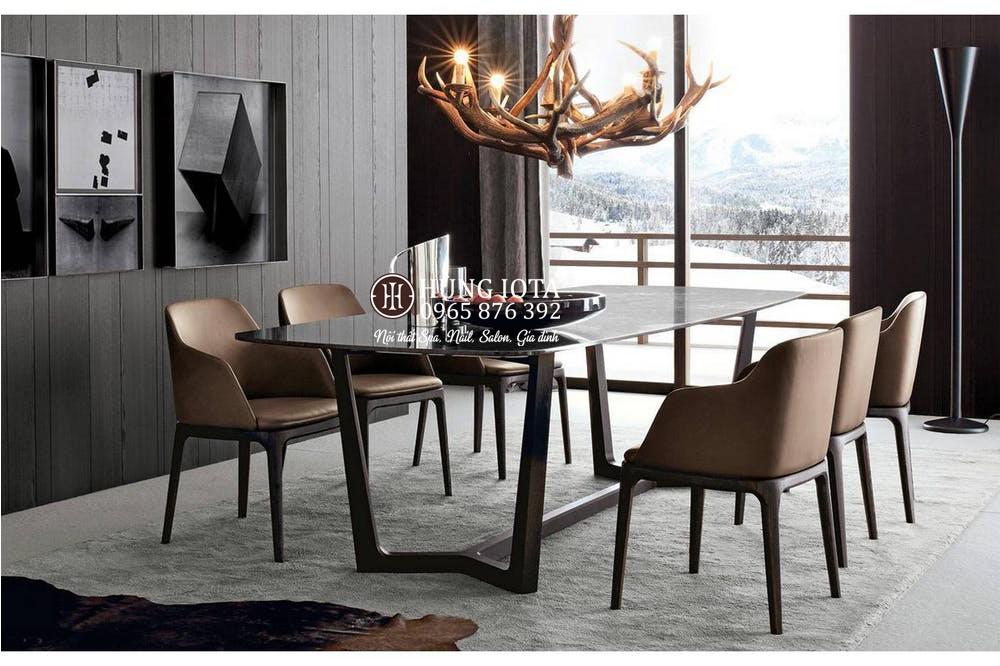 Bàn ghế ăn Grace 6 ghế có tay vịn đẹp cho gia đình, phòng cách decor