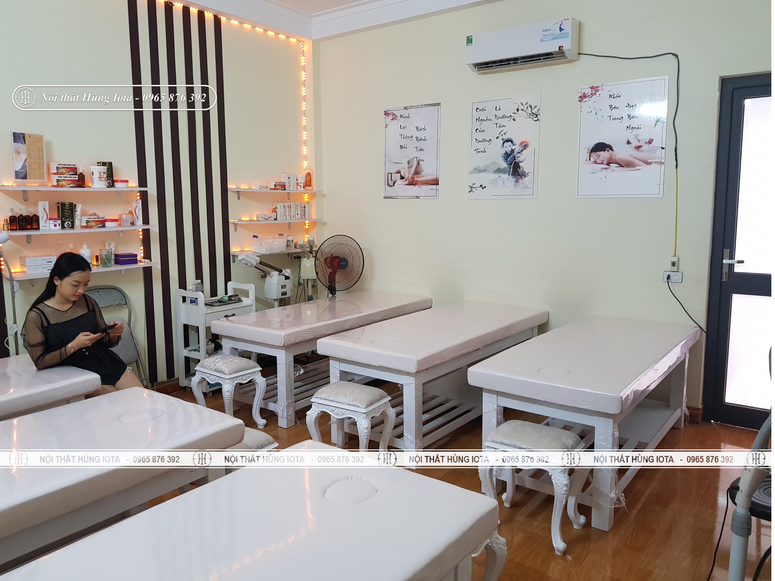 Giường spa màu trắng, ghế spa tân cổ điển ở Bắc Giang