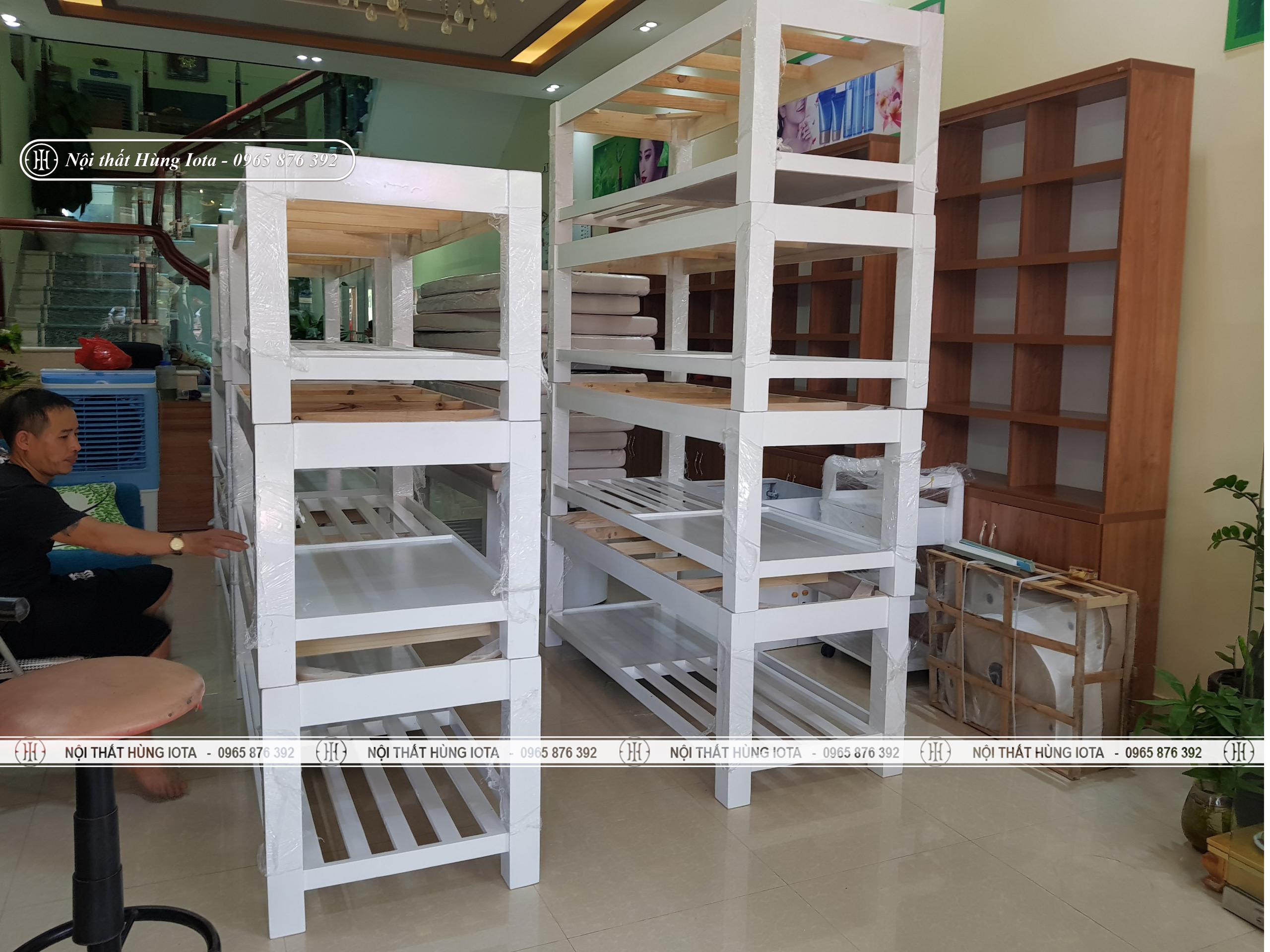 Lắp đặt giường spa, giường gội spa màu trắng ở Bắc Giang