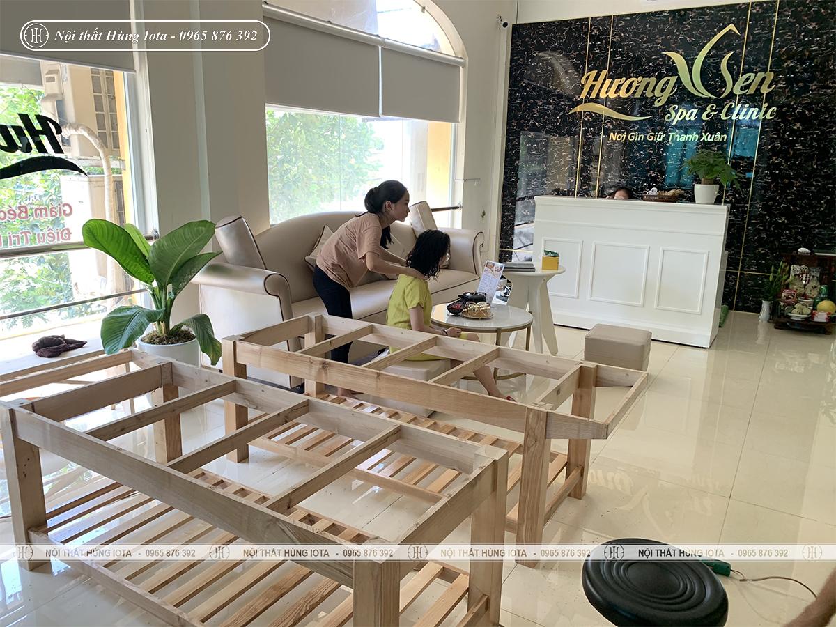 Lắp đặt nội thất spa, giường spa gỗ sồi tại Thanh Trì cho Hương Sen Spa