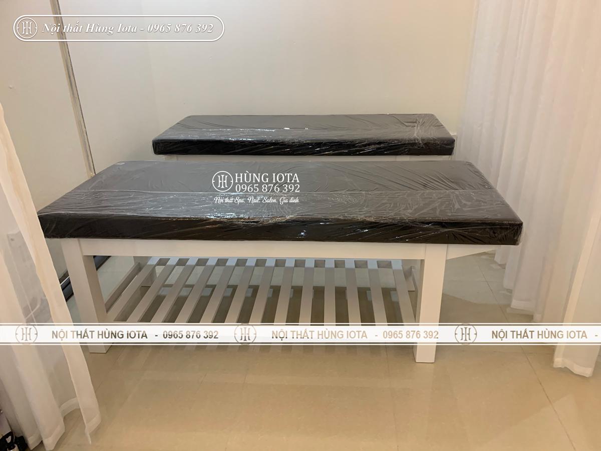 Giường massage body gỗ sồi lắp đặt ở chung cư Green Bay Vinhomes Mễ Trì