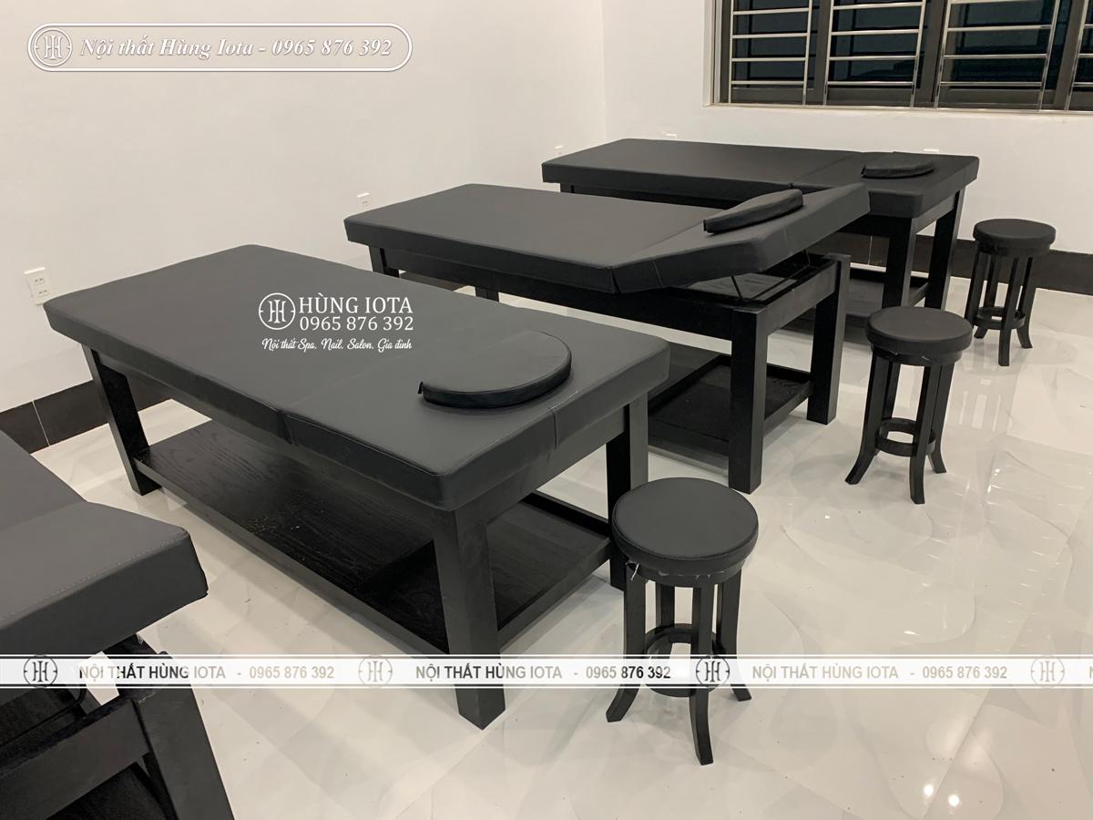 Giường massage body gỗ sồi màu đen thiết kế mới sang trọng cho TMV Vân Quê
