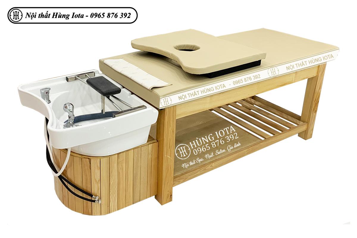 Giường spa 2 in 1 màu vàng gỗ tự nhiên hay giường gội dưỡng sinh màu vàng lộ vân gỗ