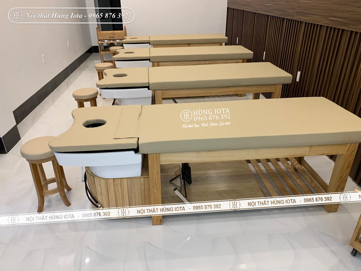 Giường spa 2 in 1 màu vàng gỗ tự nhiên bồn sứ làm gội đầu dưỡng sinh ở Điện Biên