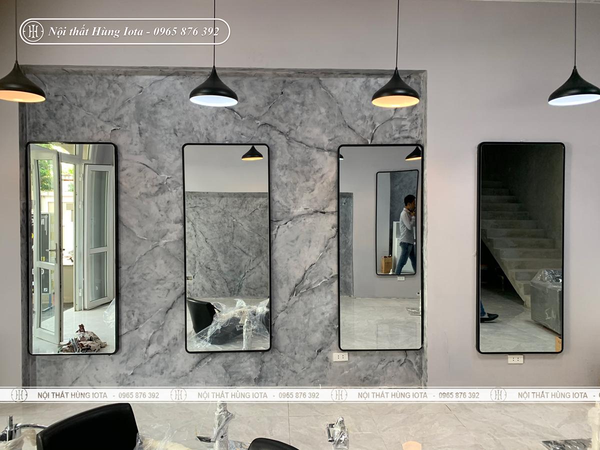 Gương cắt tóc hình chữ nhật khung gỗ đẹp giá rẻ
