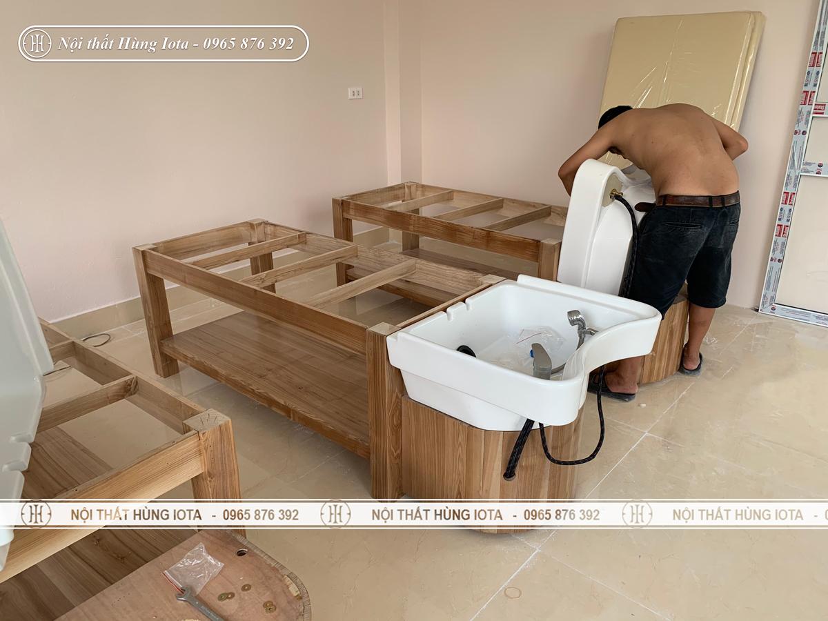 Lắp đặt giường spa 2 in 1 hay giường gội spa bồn sứ ở Phú Thọ