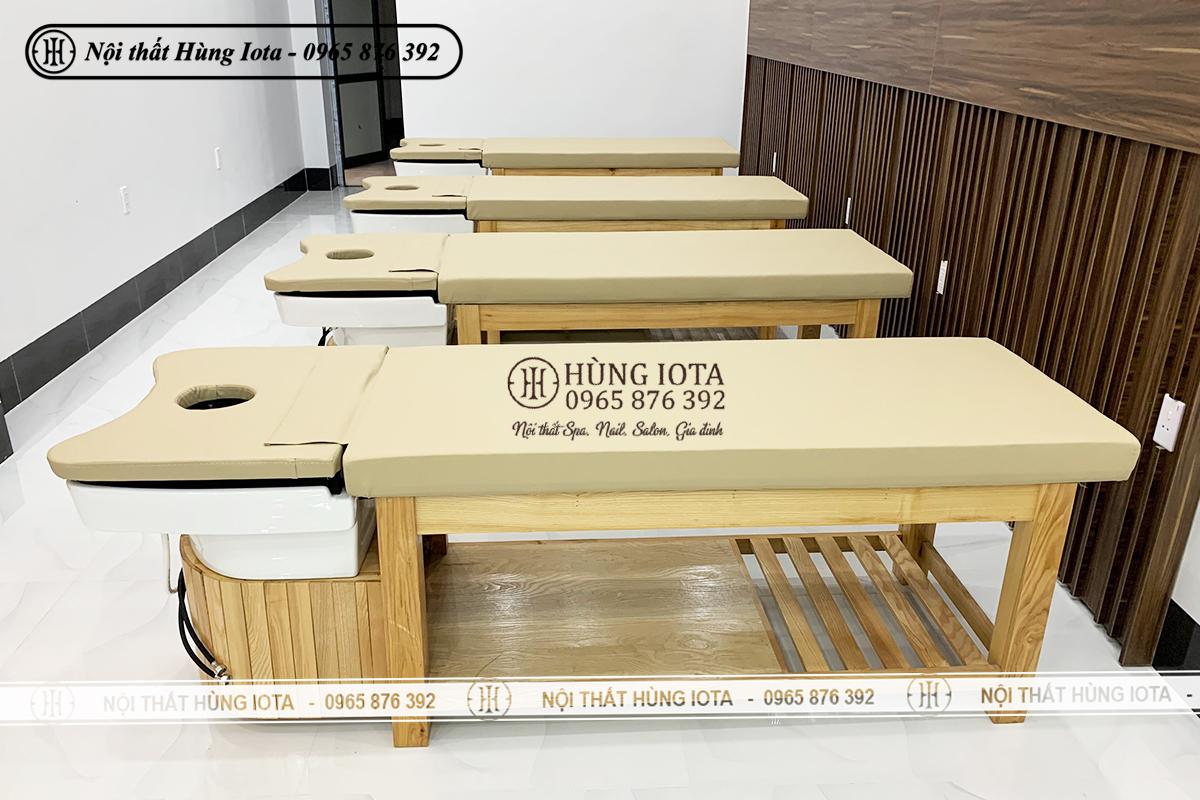 Lắp đặt giường spa 2 in 1 màu vàng vân gỗ sồi đẹp giá rẻ