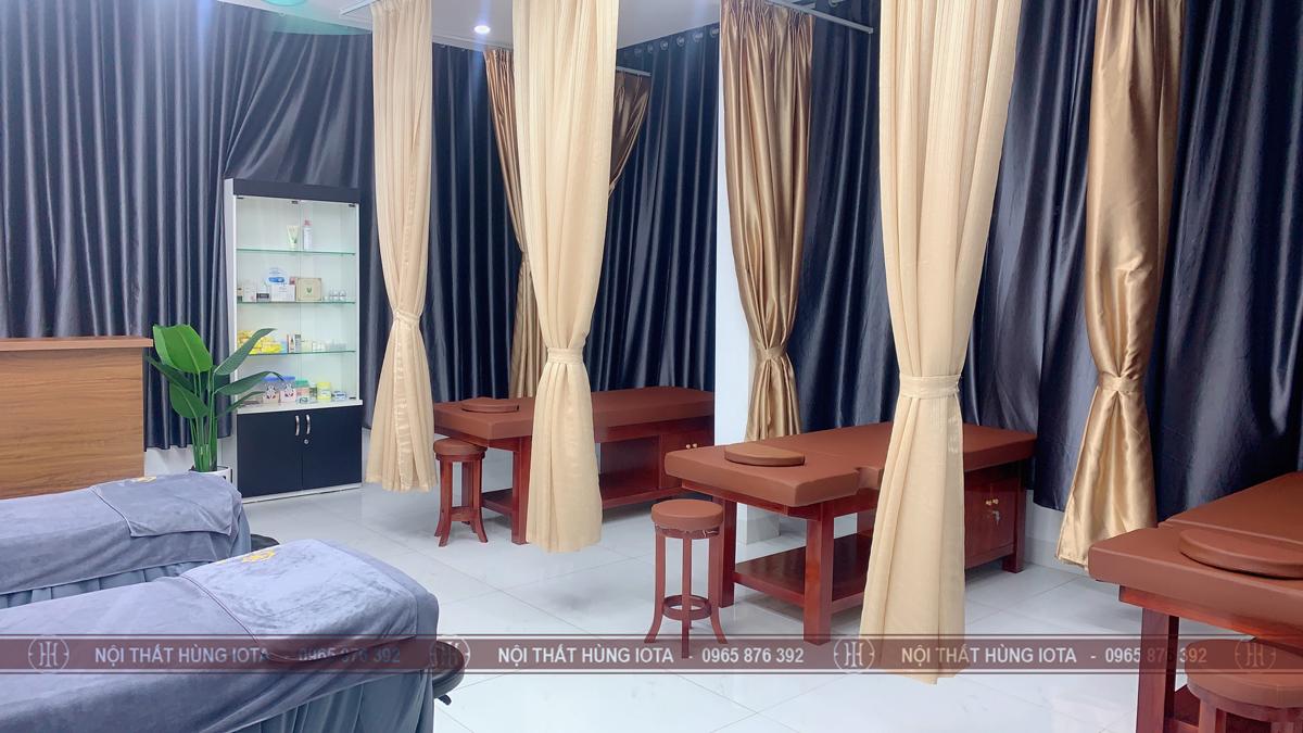 Lắp đặt giường spa gỗ có tủ cho Thẩm Mỹ Viện Hồng Kiên ở Cầu Giấy