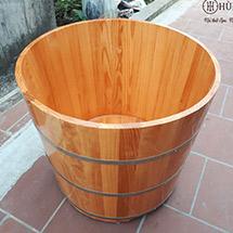 Bồn tắm gỗ tròn trụ ngâm thảo dược spa BTG02