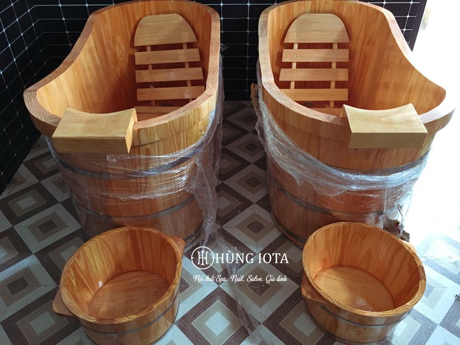 Bồn tắm gỗ ngâm thảo dược massage giá rẻ, và chậu ngâm chân massage