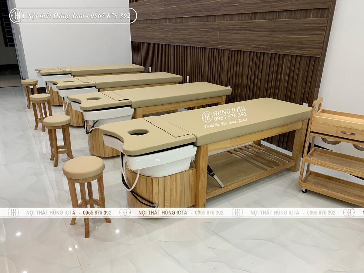 Ghế gỗ spa, giường gội spa 2 in 1 đẹp giá rẻ màu vàng gỗ tự nhiên