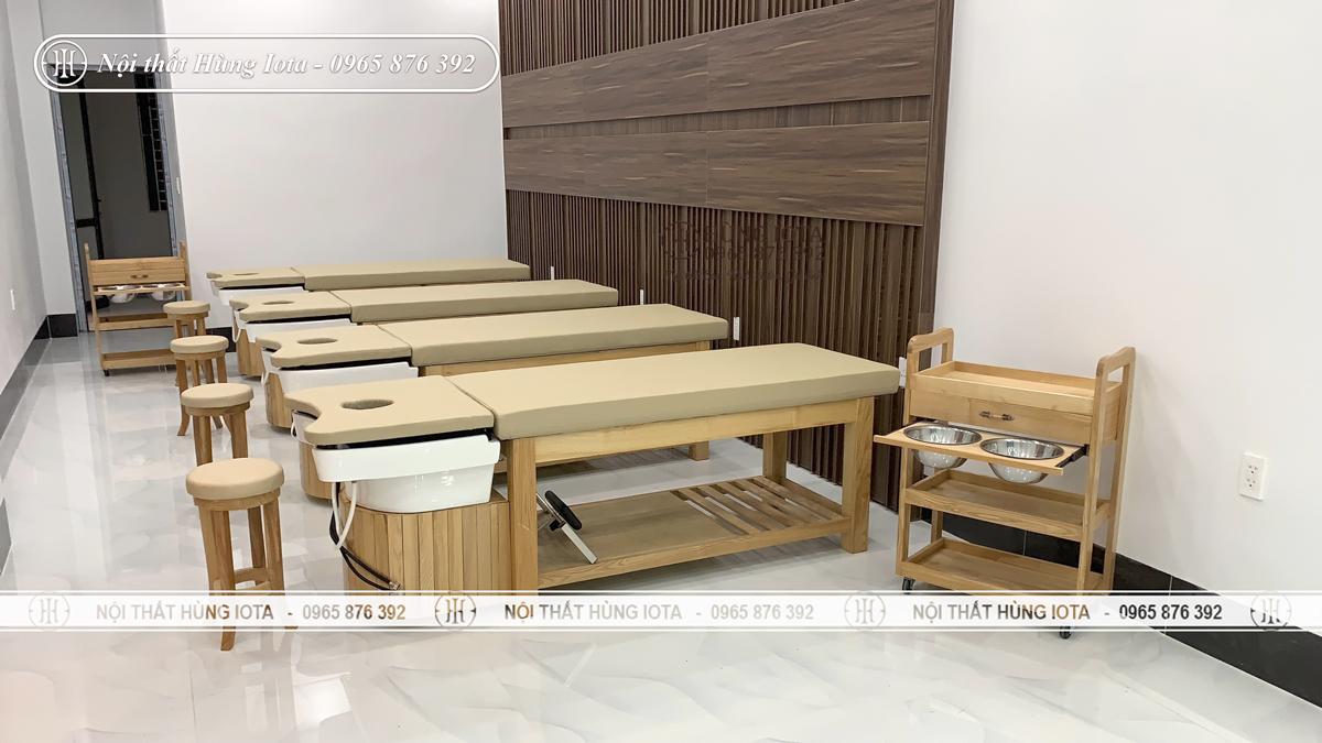 Lắp đặt giường spa 2 in 1 ở Điện Biên màu vàng vân gỗ bồn sứ