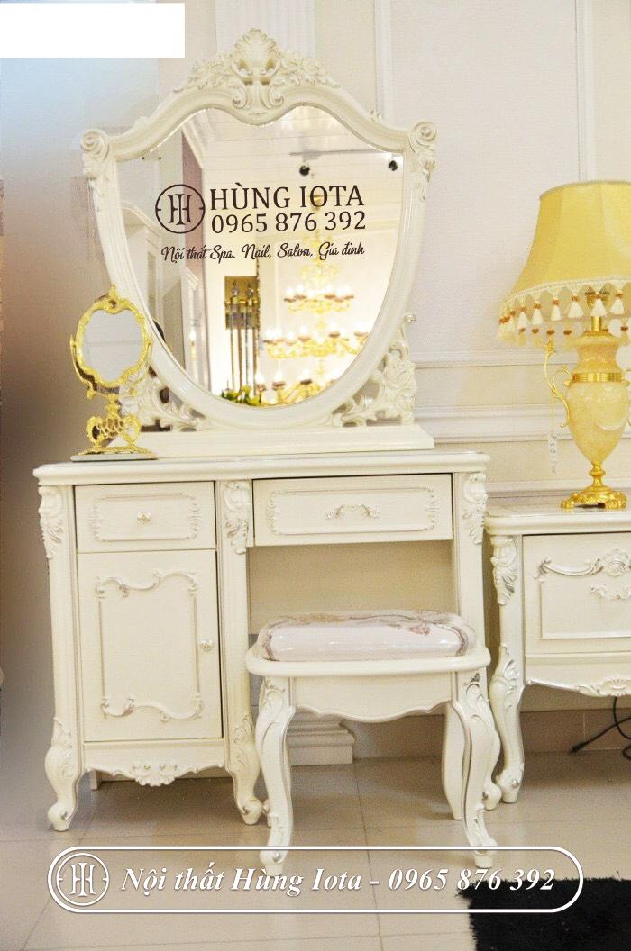 Bàn trang điểm cổ điển màu trắng vàng đẹp cao cấp sang trọng