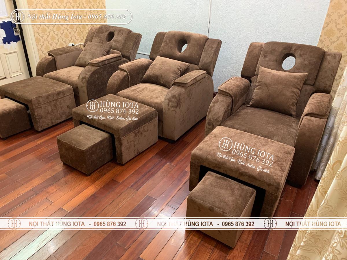 Ghế foot massage màu nâu nâng điện đẹp giá rẻ