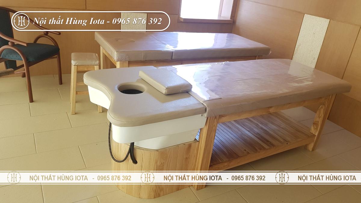 Giường gội dưỡng sinh làm massage gỗ sồi, bồn sứ đẹp