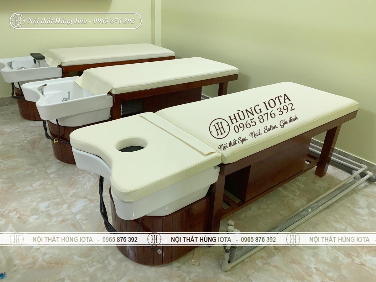 Giường gội spa bồn sứ gỗ sồi đẹp giá rẻ màu nâu
