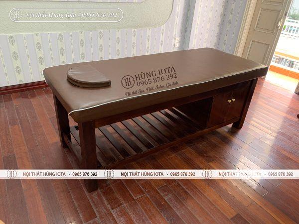 Giường massage body màu nâu gỗ sồi đẹp giá rẻ tại xưởng