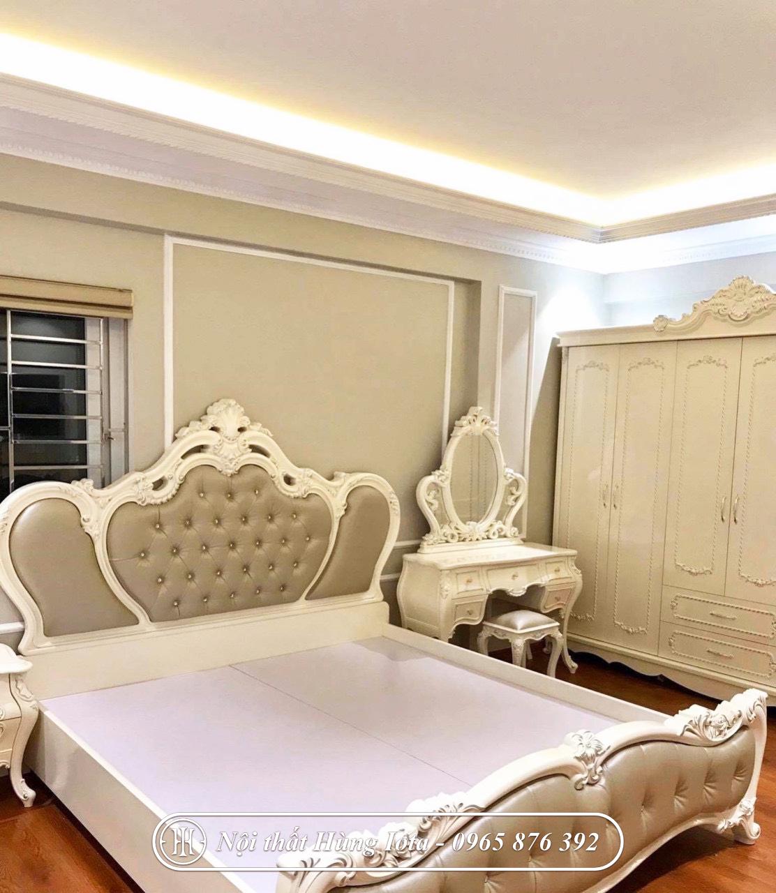Giường ngủ cổ điển màu vàng trắng giá rẻ đẹp tại xưởng sản xuất
