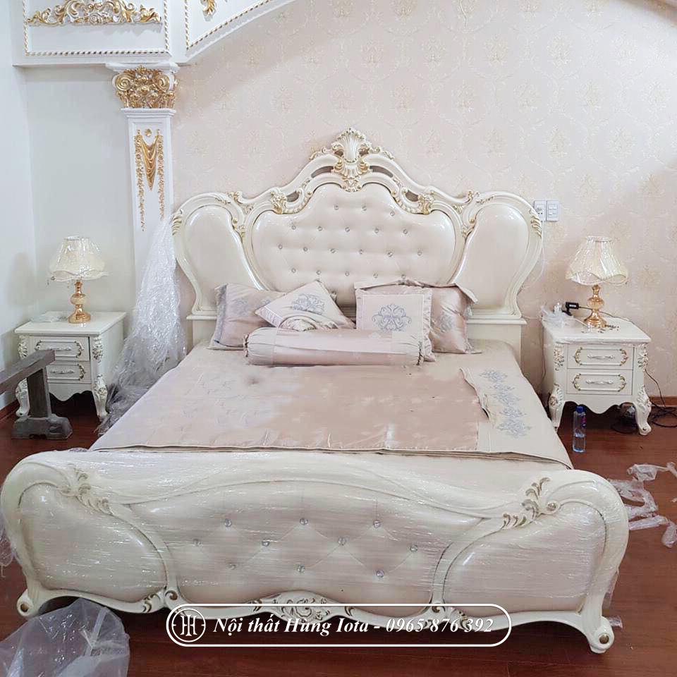 Giường ngủ màu trắng hồng tân cổ điển đẹp giá rẻ
