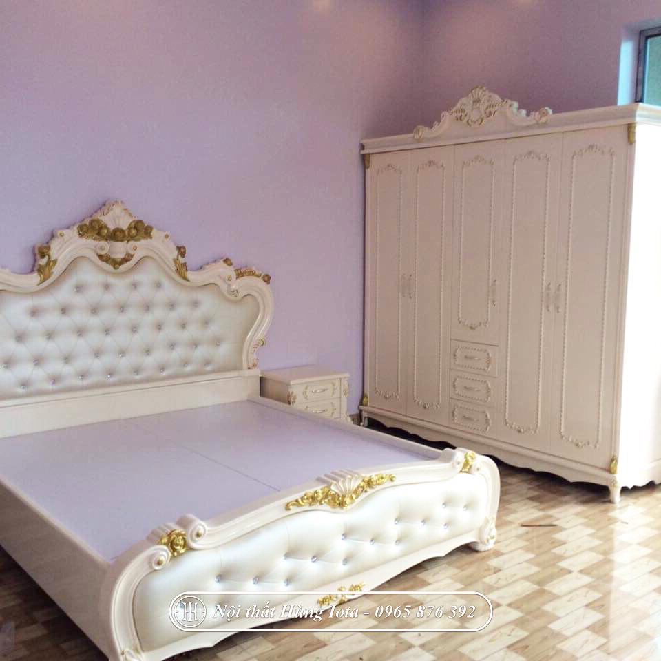 Giường ngủ tân cổ điển màu trắng nhũ vàng đẹp giá rẻ