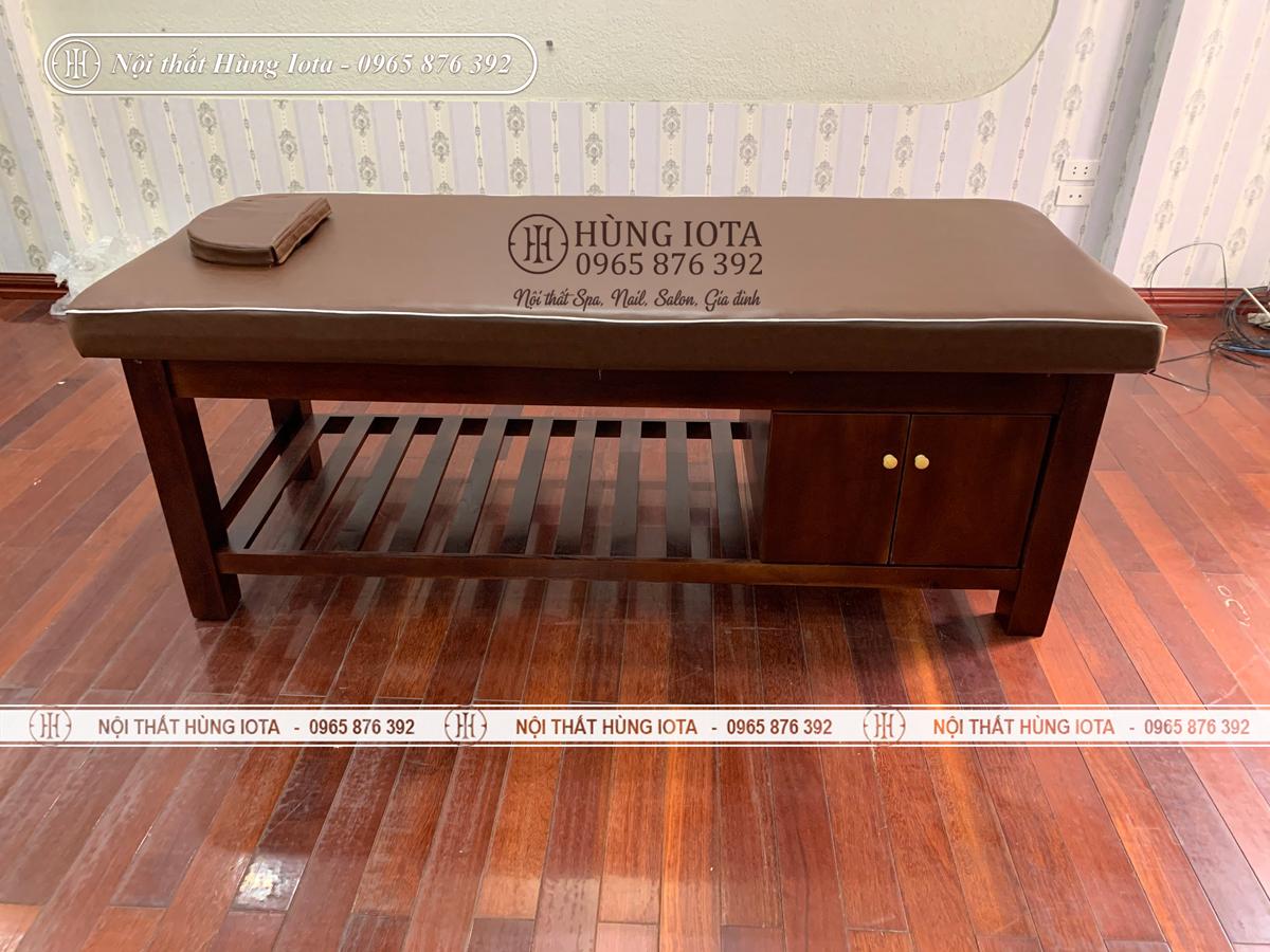 Giường spa chân vuông màu nâu có tủ đẹp giá rẻ tại Hà Nội