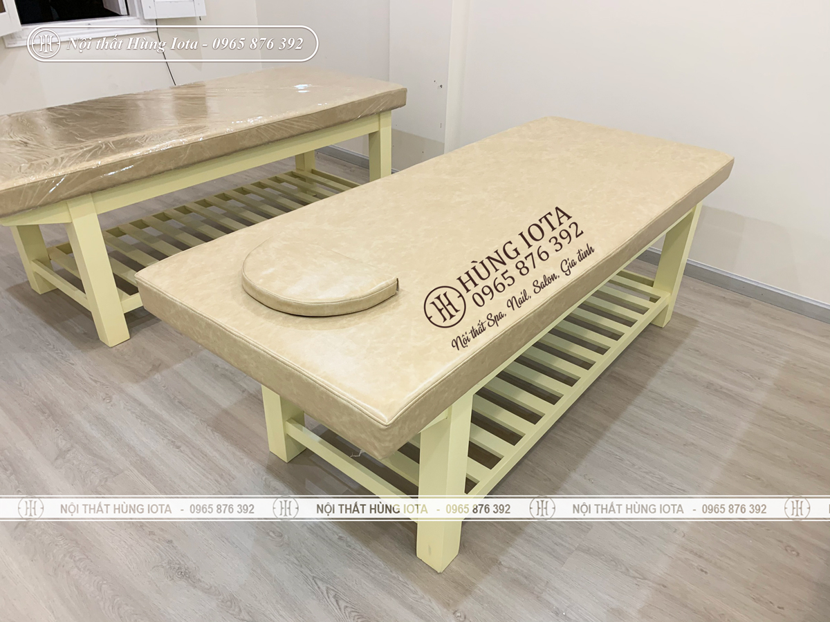 Giường spa màu vàng kem giá rẻ gỗ sồi
