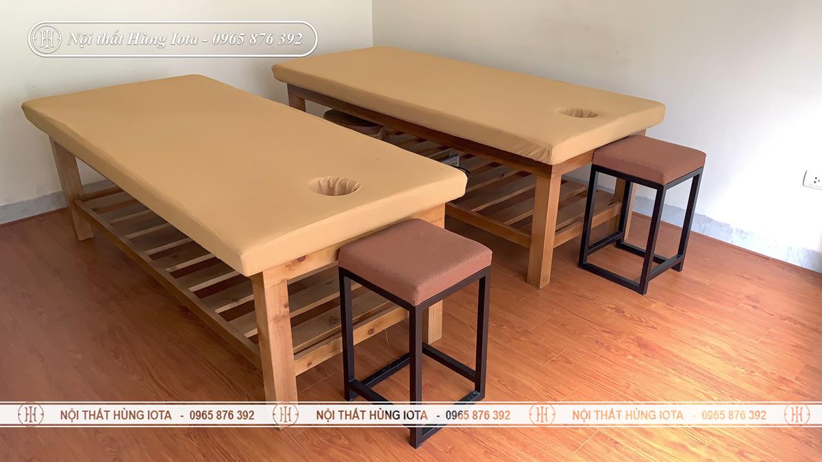 Giường spa màu gỗ tự nhiên