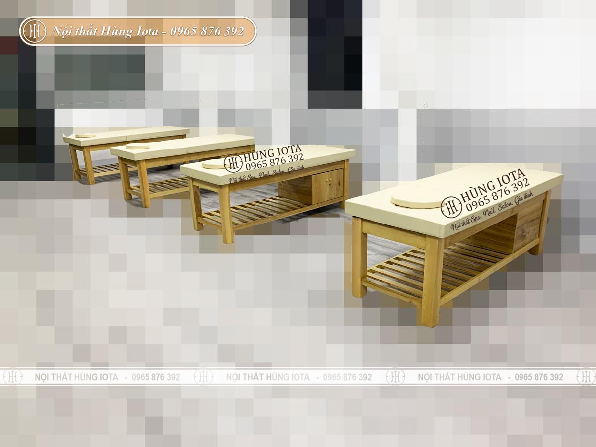 Giường spa nâng lưng màu gỗ có tủ đẹp