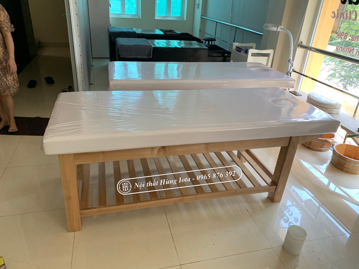Giường spa ở Hà Nội gỗ sồi đẹp giá rẻ tại xưởng sản xuất