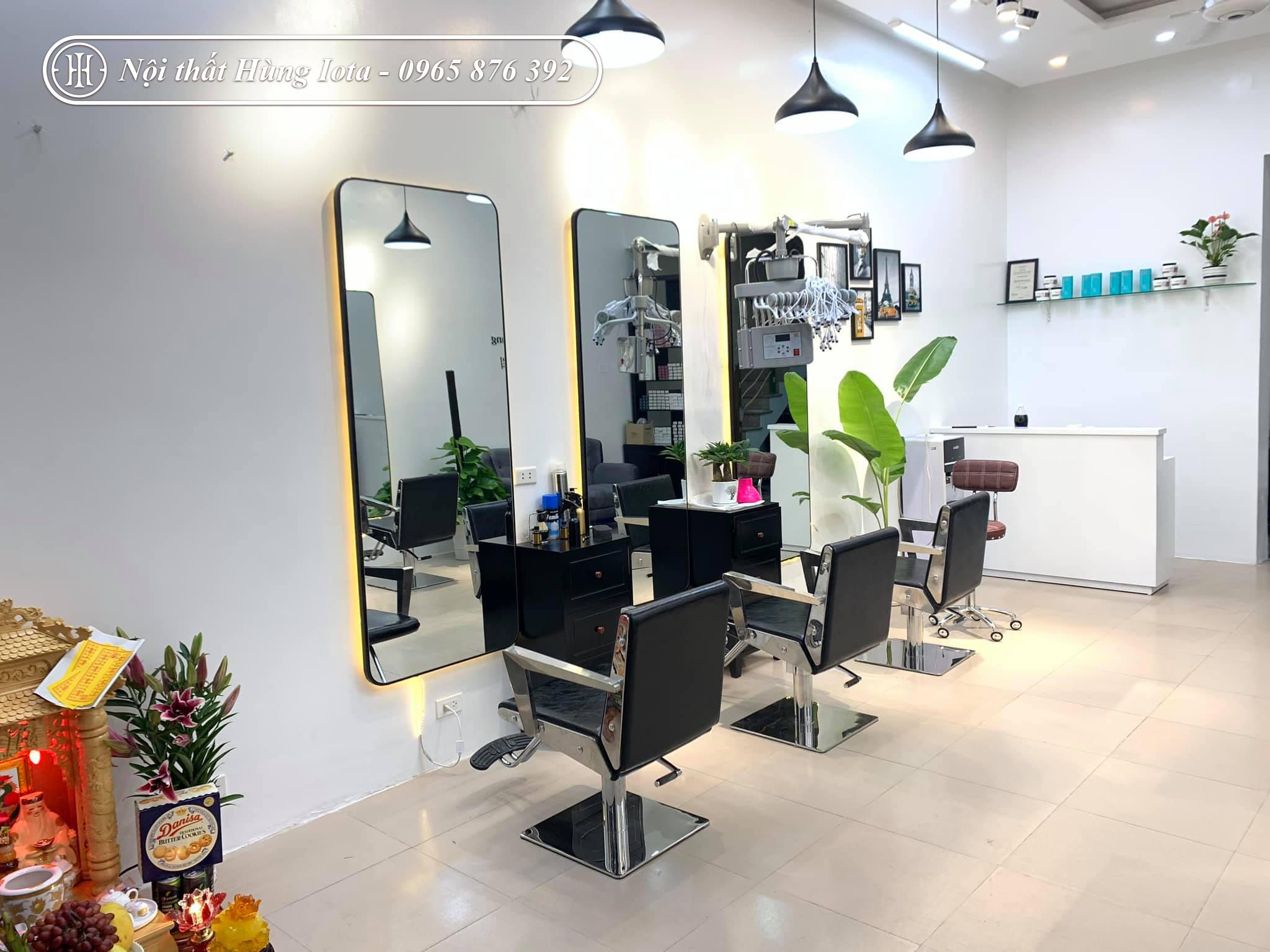 Gương cắt tóc hình chữ nhật bo 4 góc có đèn led đẹp giá rẻ
