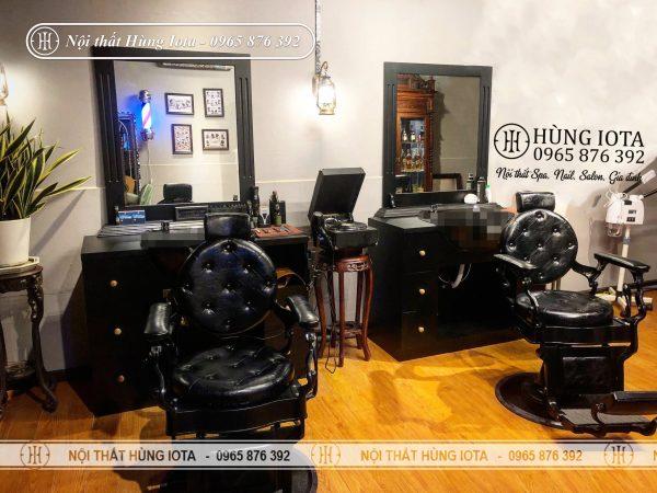 Gương cắt tóc nam hình chữ nhật màu đen hay gương liền tủ