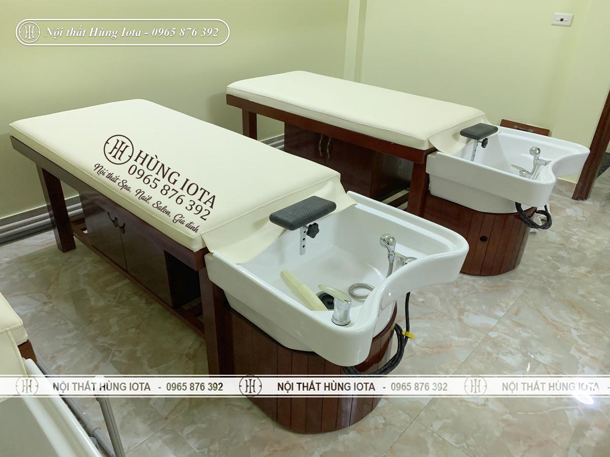 Lắp đặt giường gội spa bồn sứ gỗ sồi đẹp giá rẻ