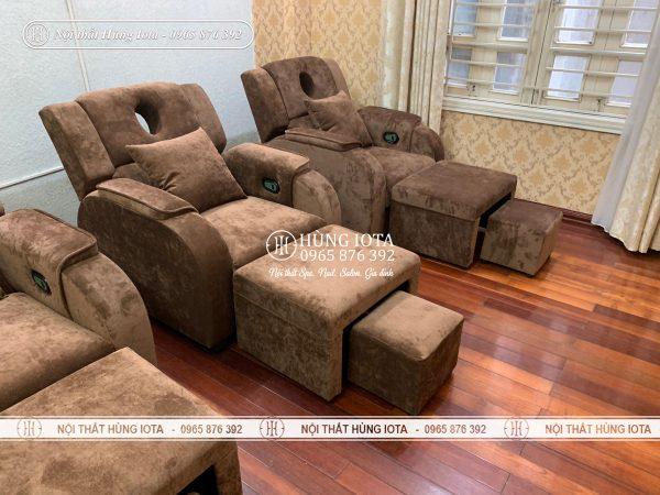 Mẫu ghế foot massage bọc nỉ nhung nâng điện đẹp giá rẻ