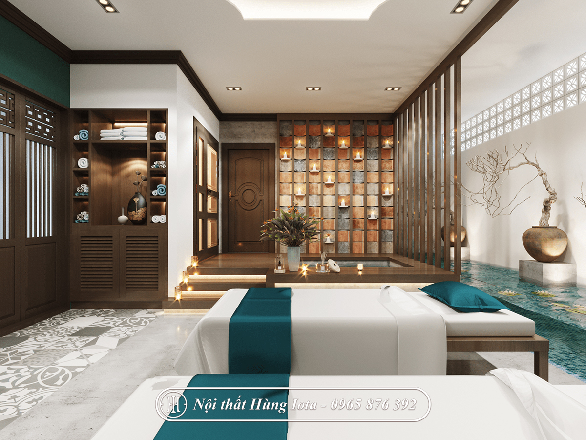 Thiết kế phòng dịch vụ spa đẹp tông màu xanh sang trọng