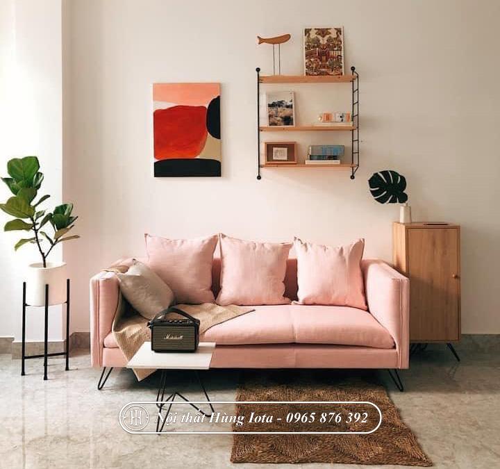 Sofa spa đơn giản màu hường nhạt giá rẻ