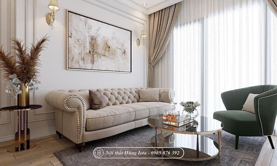 Sofa tân cổ điển cho spa màu trắng mờ đẹp