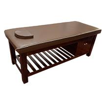 Giường spa màu nâu có tủ cuối giường GSP47