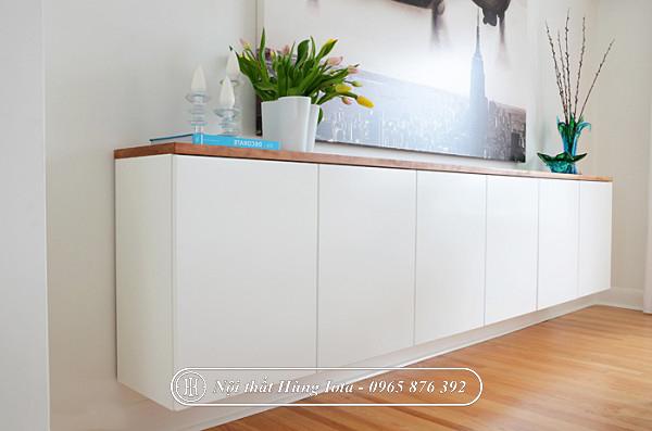 Tủ đựng đồ màu trắng treo tường cho spa, gia đình đẹp