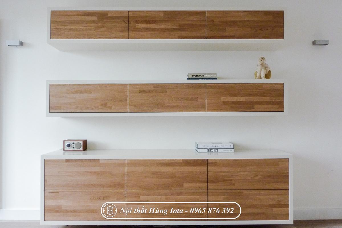 Tủ đựng máy móc spa màu gỗ tự nhiên đẹp
