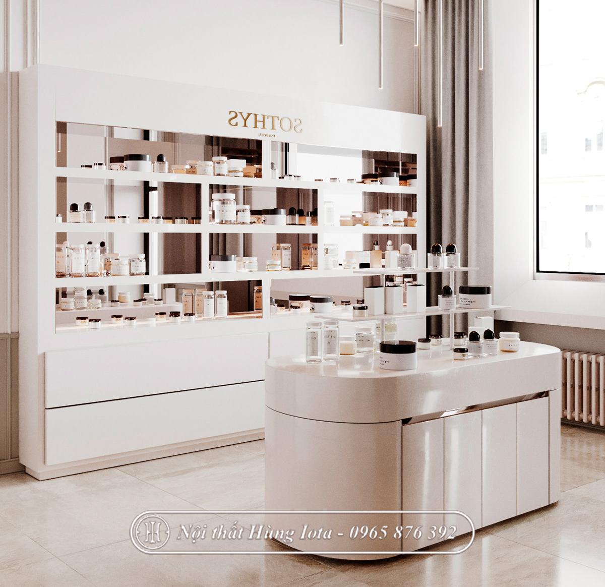 Tủ spa đẹp đựng mỹ phẩm sang trọng cao cấp giá tại xưởng