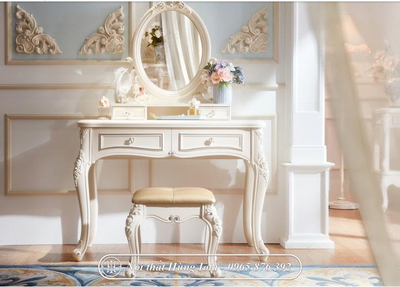 Bàn trang điểm tân cổ điển gương nhỏ màu trắng hồng