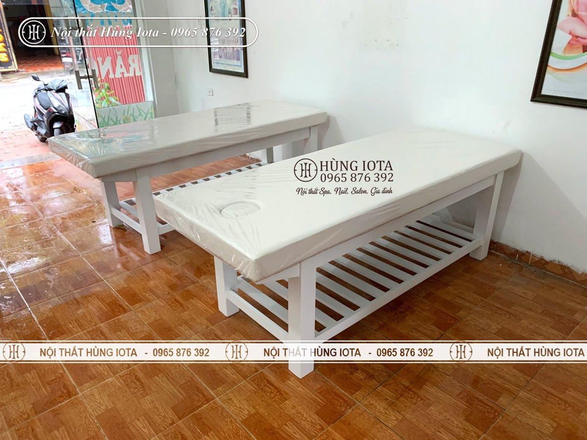 Giường spa màu trắng đẹp chất lượng