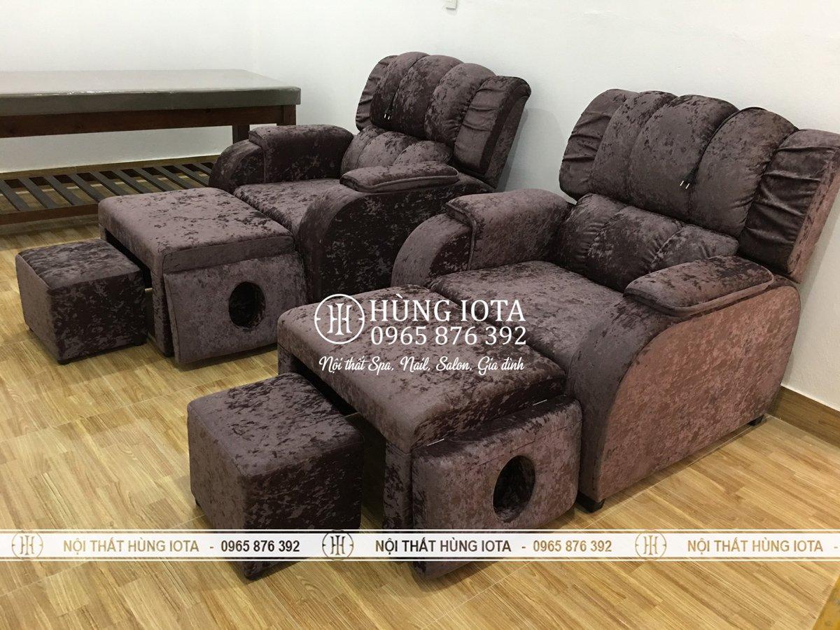 Mẫu ghế masage chân màu tím nỉ nhung