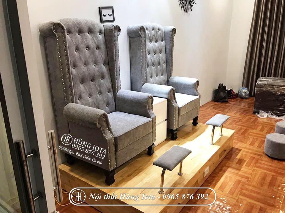 Sofa làm nails màu đen phong cách sang trọng